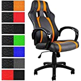 Bürostuhl Deluxe Orange Chefsessel - Schreibtischstuhl Sportsitz Drehstuhl Gamingstuhl Stuhl Schalensitz Bürodrehstuhl PU Klavierlack Race Design - Farbauswahl