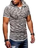 Ombre-Eight Herren Oversize T-Shirt Hooded Henley O-215 [Schwarz, L]
