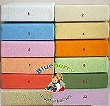 blueberryshop Frottee Spannbetttuch für Kinderbett/Babybett Bett, 140cm Länge x 70cm Breite, orange