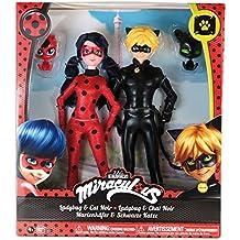 Bandai Miraculous - Pack 2 poupées - Ladybug et Chat Noir - 26 cm - Rouge/Noir