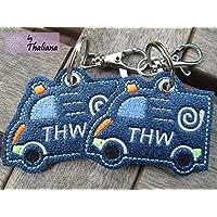 Anhänger personalisierbares THW Fahrzeug mit Namen blau Schlüssel-Anhänger Taschen-Anhänger
