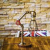 AOKARLIA Industriell Tischlichter E27 Lampen, LED Wasserrohr Metall Schreibtisch Akzentlampen, Temperguss Nachttisch Nachttisch Schlafzimmer Wohnzimmer Cafe Bar Zuhause Dekor Beleuchtung, C