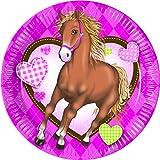 Party-Teller / Papp-Teller / Einweg-Teller / Einweg-Geschirr Pferde / Ponys - Geburtstags-Feier Mädchen / Motto-Party Pferde / Picknick / Sommer-Party / Garten-Party / Grill-Fest / Deko Kinder-Geburtstag Mädchen (16 Teller)