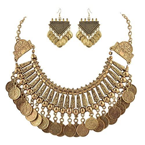 zephyrr Fashion Combo von Münzen Choker Stil Halskette mit Dangler Ohrringe für Mädchen und Frauen (Schönheit Sari)