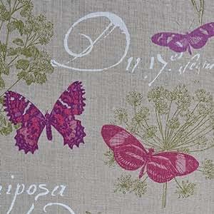 tissu en lin imprim papillon naturel 100 lin largeur 140cm 1 m tre. Black Bedroom Furniture Sets. Home Design Ideas