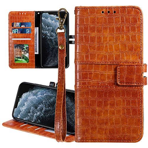 Nadoli Ledertasche für Samsung Galaxy S10e,Krokodil Muster Luxus Männer Frauen Pu Standfunktion Flip Handy Schutzhülle Brieftasche mit Kartenhalter und Handschlaufe,Braun