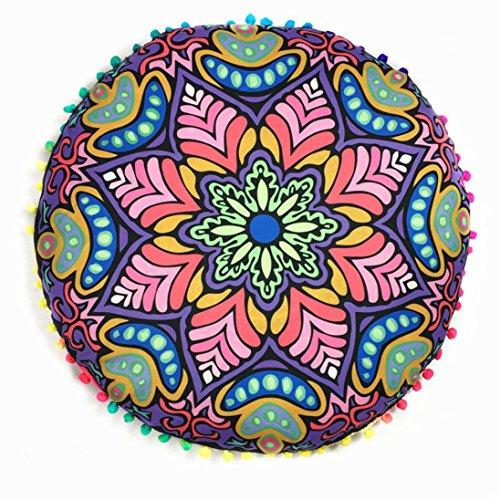 zolimx Almohadas de piso Mandala indio redondo bohemio cojín cojines almohadas funda (Purple A)