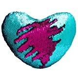 DrCosy, cuscino decorativo bicolore effetto squame di sirena con inserto, cuscino a forma di cuore con paillettes reversibili (35 x 40 cm), Lake Blue/Hotpink, 35x40cm