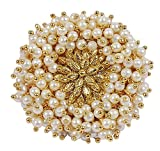 #7: Muchmore White Pearl Beads Made Gold Plated Polki Ring For Women
