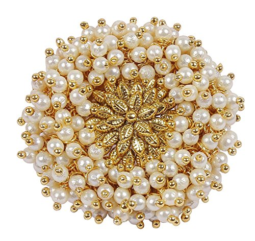 Muchmore White Pearl Beads Made Gold Plated Polki Ring For Women