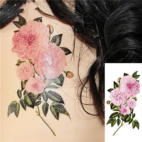 4 Pezzi romantici Fiori Rosa Scuro Tatuaggio OS Falsi Adesivi Tatuaggi temporanei Impermeabili H19 9X19cm