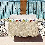 BELLE VOUS Hawaii Deko Tischrock 9ft - Luau Party Deko (L274 x H77cm) mit bunten Hibiskus Blumen - Luau Tischdeko, Tischrock aus Bast für Karibik Deko, hawaiianische Party, Geburtstag und Grillparty - 8
