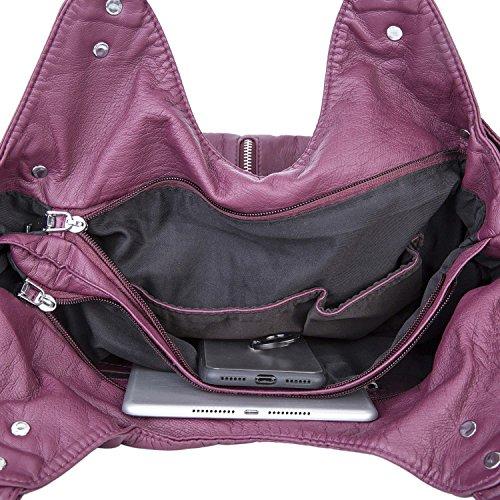 9301e31dabe6a ... Dame Gewaschene Leder Handtaschen Große weiche Umhängetaschen Crossbody  Schultertaschen Reisetaschen Taschen für Frauen - Schwarz Maulbeere ...