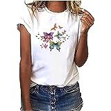 Camiseta de mujer casual. Color con estampado de mariposas. Camisetas sueltas básicas para verano de color blanco. Blusa de m