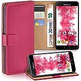 Pochette OneFlow pour Samsung Galaxy A3 (2016) housse Cover avec fentes pour cartes | Flip Case étui housse téléphone portable à rabat | Pochette téléphone portable étui de protection accessoires téléphone portable protection bumper en BERRY-FUCHSIA