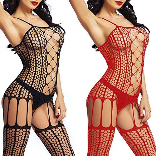 LOVELYBOBO 2-Pack Damen Unterwäschen Reizwäsche Netz Strumpfhose Bodystockings Hohle Blumen Frauen Bodysuit Nachtwäsche Dessous (Schwarz+Rot)