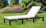 Comfy Living Reclining Rattan Sun Lounger in Black