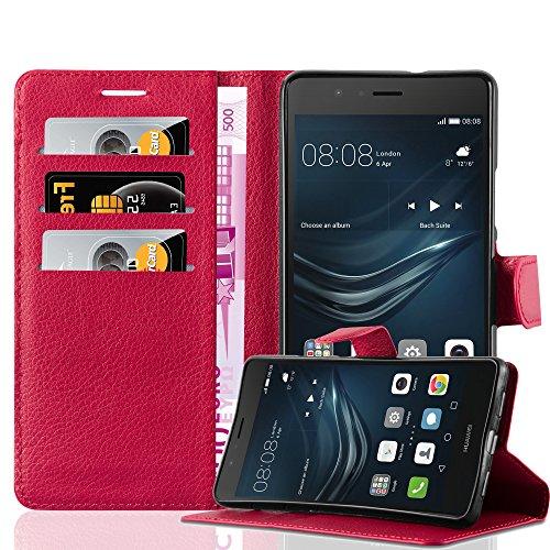 Preisvergleich Produktbild Cadorabo Hülle für Huawei P9 LITE - Hülle in Karmin ROT – Handyhülle mit Kartenfach und Standfunktion - Case Cover Schutzhülle Etui Tasche Book Klapp Style