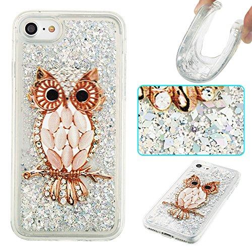 Ooboom® iPhone 5SE Coque Étui Cristal Clair TPU Silicone Gel Housse Bumper Cover Case avec Écoulement Bling Brillant Glitter - Ours Violet Hibou