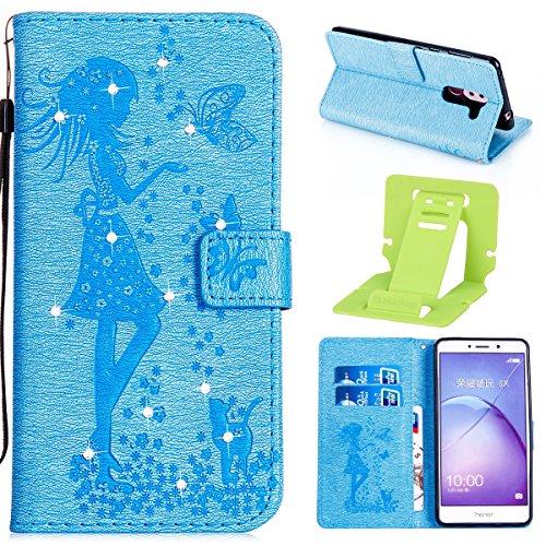 Coque Huawei Honor 6X en Cuir,Housse de Protection pour Huawei Honor 6X,Ekakashop Retro Gris Rabat Bling Shiny Brillant Shell Couvercle Housse Etui avec Motifs de Femmes et Chat Mignon Tendance Style  Bleu
