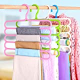 Souxe Pack of 5 Plastic Multipurpose 5 Layer Hanger - Color May be Vary