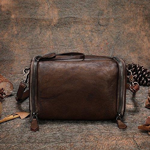Nouvelle mode rétro épaule unique de loisirs coupe diagonale couche de grande capacité en cuir sacs shopping loisirs Brown