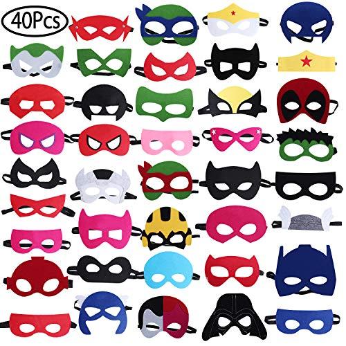 Superhero Masken, Stand 40Pcs Superhero Party Masken Superhero Geburtstag Masken Superhero Party Supplies, Halbmasken Cosplay Spielzeug Party Favors Für Kinder Oder Jungen Im Alter Von 3 +