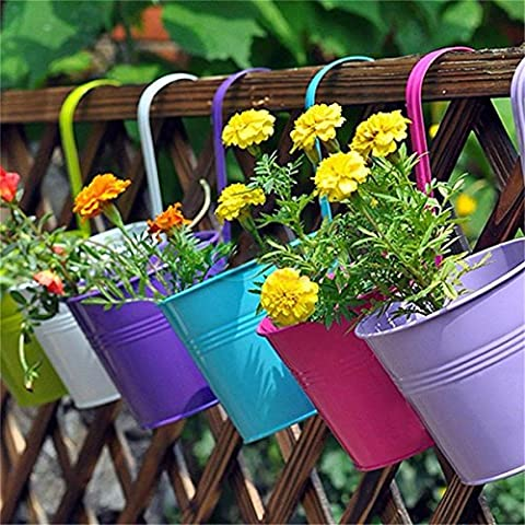 KING DO WAY 5 Pcs Metal Flower Pot with Datachable Handle and Drainage Holes Vintage Style Hanging Planter Pot Balcony Garden