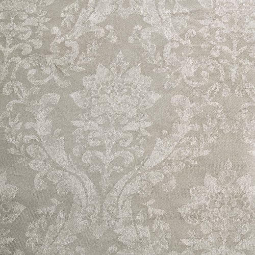 Mason Gray Serene – Laurent – Damask Jacquard Lined Pencil Curtains with Tie-backs – 66″ Width x 72″ Drop (168 x 183cm), Silver