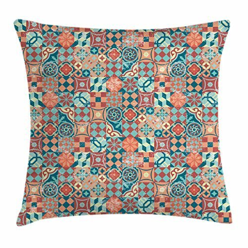 Gorgeous ornaments Patchwork Throw Pillow Cushion Cover, Vintage Checkered Square Pattern Grunge Worn Out Effect Cubes Diamond Shapes, Decorative Square Accent Pillow Case, 18 X 18 inches, Multicolor