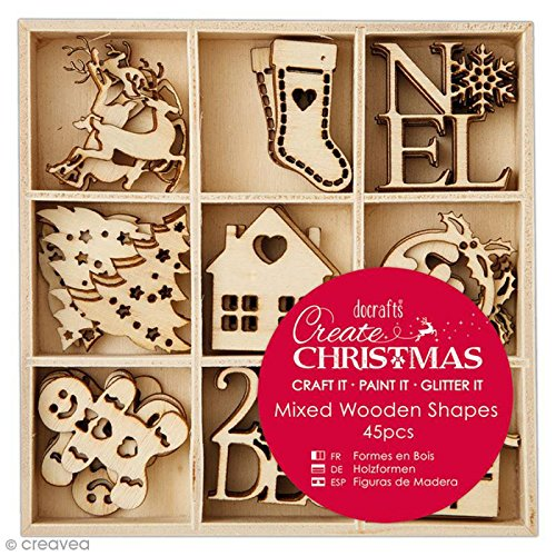 Docrafts Create Christmas 2.5cm to 3cm Mixed Wooden Shapes (Pack of 45)