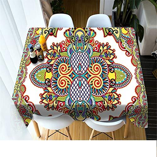 QWEASDZX Tischdecke Polyester 3D Digitaldruck Picknicktischdecke Antifouling Rechteckige Tischdecke Wiederverwendbar Geeignet für Innen und Außen 140x220cm