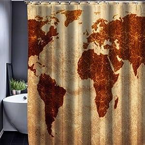 Generic 3, 150x 180cm cortina de ducha: patrón de mapa del mundo Creative cortina de ducha baño resistente al agua tela de poliéster 150* 180cm + 12ganchos