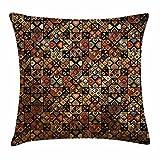Federa per cuscino tribale, azteco tradizionale folk Inca pre-columbian American Primitive Boemia stile etnico, decorative Square Accent Pillow case, multicolore