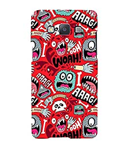 ANIMATED MONSTERS IN A RED BACKGROUND 3D Hard Polycarbonate Designer Back Case Cover for Samsung Galaxy A7 (2015 Edition) :: Samsung Galaxy A7 A700F (2015)