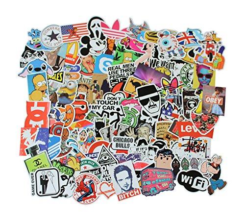 Stickerbomb Set farbig 100 Stk Aufkleber durchgemischt Sticker Bomb für Auto Skateboard Helm Longboard Laptop Snowboard Vinylaufkleber Gepäck Decals