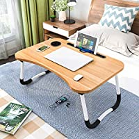 Laptop Desk Bed Table Tray, Lap Desk Bed Table for Breakfast Serving Tray, Notebook Table with Tablet Slots and Cup Holder for Couch Floor for Adults/Students/Kids