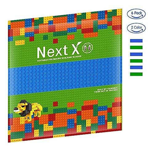 NextX 6 Stück Grundplatten Große Bauplatte Gebäude Spielzeug,25cm* 25cm Verdickung Bausteine Platten set 32 * 32Punkte