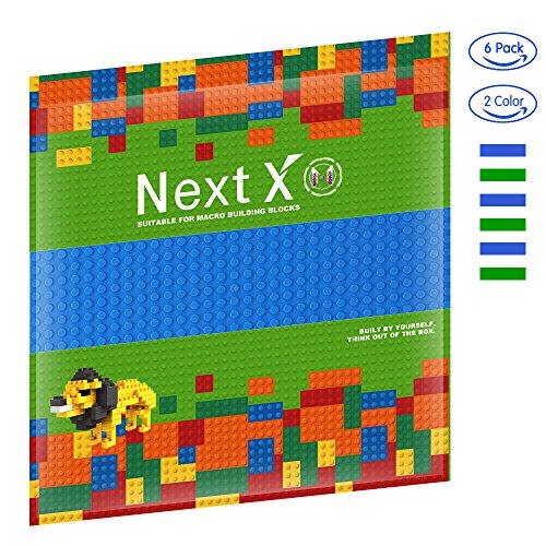 Preisvergleich Produktbild NextX 6 Stück Grundplatten Große Bauplatte Gebäude Spielzeug,25cm* 25cm Verdickung Bausteine Platten set 32 * 32Punkte (Grün+Blau)