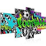Bilder Fussball Graffiti Wandbild 200 x 100 cm Vlies - Leinwand Bild XXL Format Wandbilder Wohnzimmer Wohnung Deko Kunstdrucke Bunt 5 Teilig -100% MADE IN GERMANY - Fertig zum Aufhängen 402651a