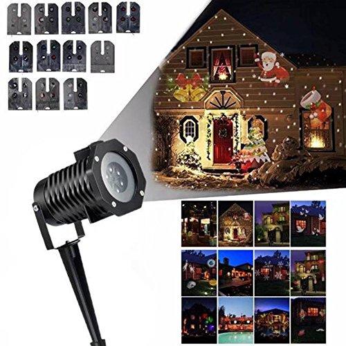 ojektionslampe Farbe Lichter im Freien wasserdicht 12 Arten von Mustern können geändert Werden Weihnachten Halloween dekorative Lichter ()