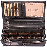 Hill Burry Leder Geldbörse | echtes Vintage Leder - XXL weiches Portemonnaie (Grau)