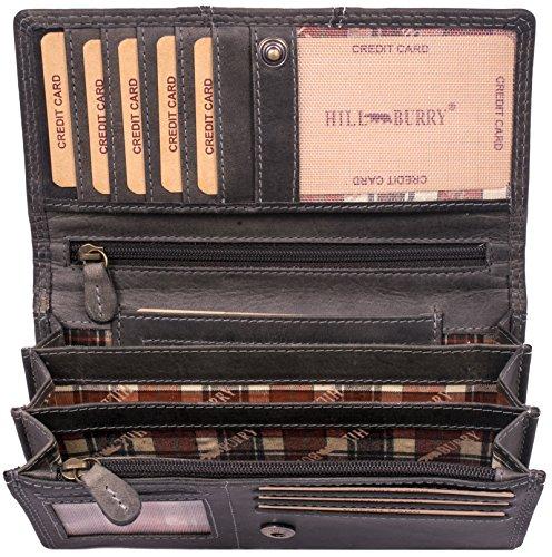 Hill Burry Leder Geldbörse | echtes Vintage Leder - XXL weiches Portemonnaie RFID (Grau)