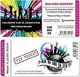 Einladungskarten zum Geburtstag als mit Abriss-Coupon, Eintrittskarte Party Ticket Lila 50 Stück