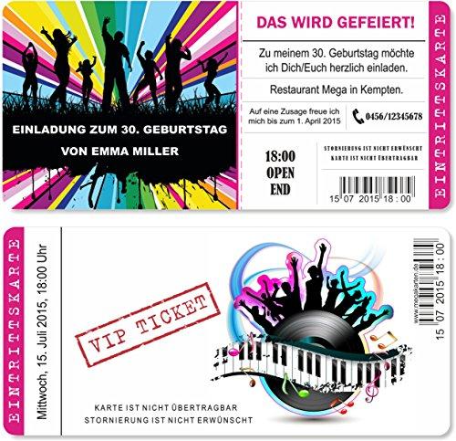Einladungskarten zum Geburtstag als mit Abriss-Coupon, Eintrittskarte Party Ticket Lila 30 Stück