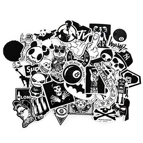 Oblique-Unique® Aufkleber ca. 100 Stück Sticker Graffiti Style Schwarz Weiß Reisen Skateboard Snowboard Vinylaufkleber Graffiti Laptop Gepäck Auto Fahrrad (Kleine Laptop Weiß)