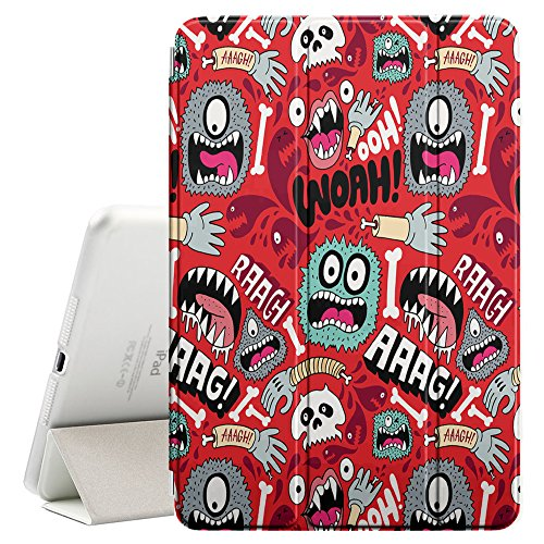 YOYOcovers [ FOR iPad Mini 2 / 3 / 4 ] Smart Cover con funzione del basamento di sonno - Wallpaper Mono Eye Colorful Aliens Skull Hand