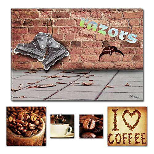 Eco Light Art Wand Leinwand Bundle beeindruckenden Rasierer Diana 60 x 90 cm für Home Décor und Kaffee Lover Collage Set of 4 gerahmt Kunstwerk für Home Decor und Restaurant (Ski Urban Hose)