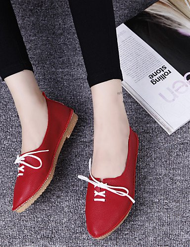 ZQ hug Scarpe Donna - Stringate - Casual - A punta - Piatto - Finta pelle - Nero / Rosso / Bianco , red-us8 / eu39 / uk6 / cn39 , red-us8 / eu39 / uk6 / cn39 red-us5.5 / eu36 / uk3.5 / cn35