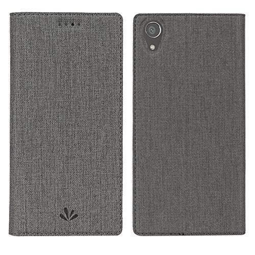 Sony Xperia XA1 Plus Hülle,Eactcoo Dünn Premium PU Leder klappbares Folio Flip Case Book TPU Cover Bumper Tasche Mit Standfunktion Magnetverschluss Kartenfach Wallet Handyhülle (XA1 Plus, Gray)